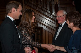 Pic Alan Richardson Dundee, Pix-AR.co.uk The University of St Andrews celebrated their 600th Year at a banquet at Temple Hall in London attended by the Duke and Duchess of Cambridge. The Duke and Duchess are welcomed by Chancellor Menzies Capbell and Principal Prof Louise Richardson see press release from St Andrews University